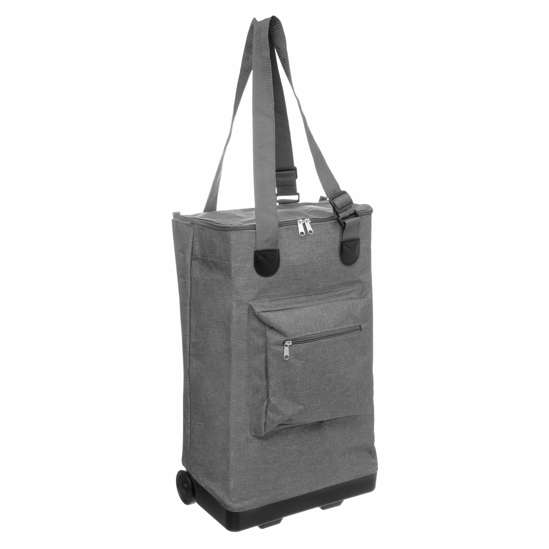 4goodz Opvouwbare boodschappentas met wieltjes 30 liter - grijs