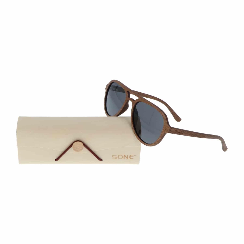 5one® Aviator Walnut - walnoot houten zonnebril met grijze glazen