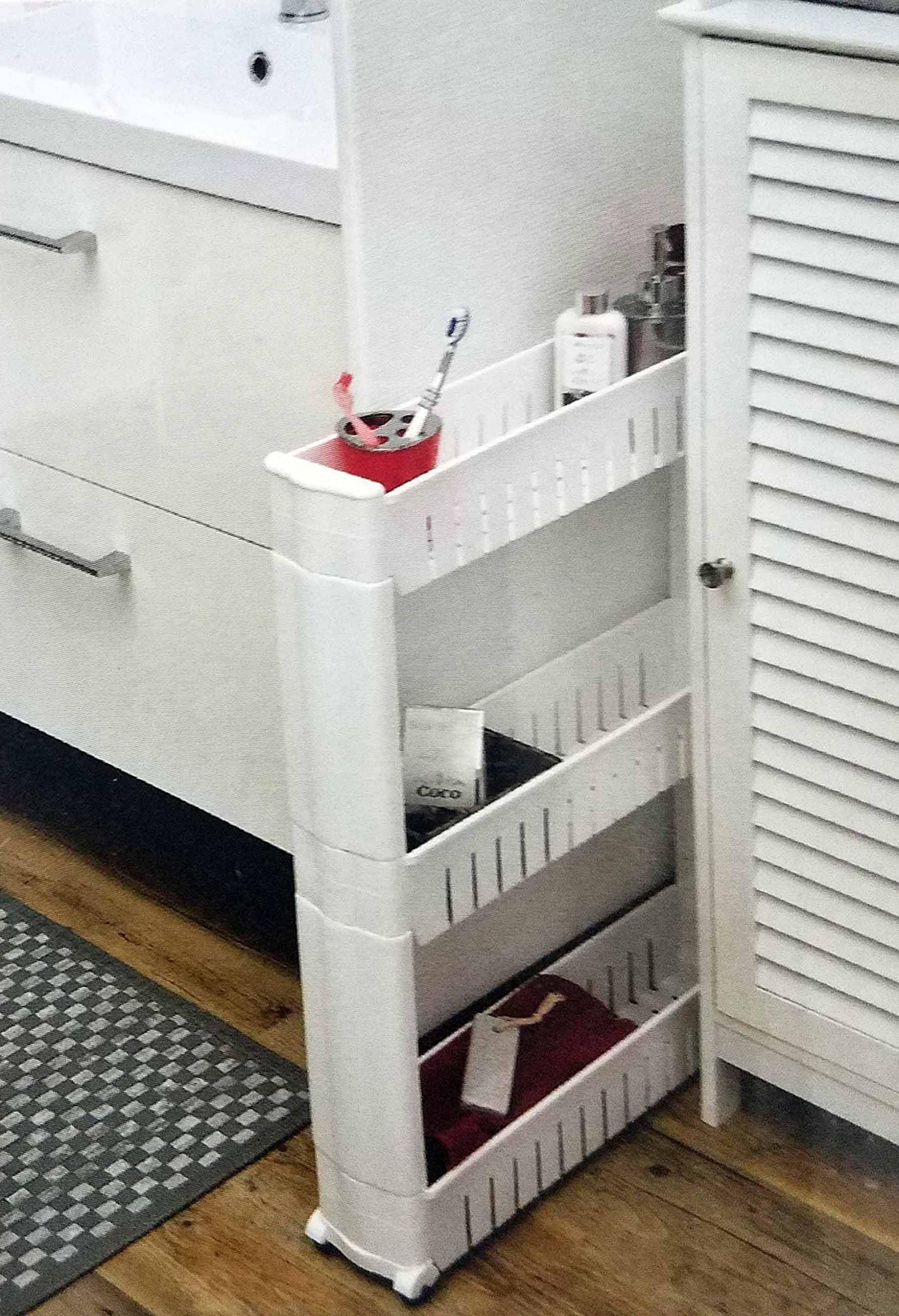 Keukenrek op wielen met 3 legvakken - 54x12x72 cm - Wit