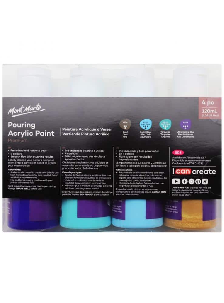 Mont Marte® Pouring Paint Golden Beach - set van 4 giet acrylverf 120ML